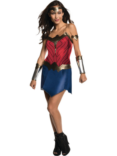 Womens Wonder Woman Dress With Gauntlets Costume