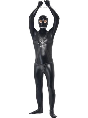Mens Sexy Bondage Gimp Slave Wet Look Black Bodysuit With Straps Costume