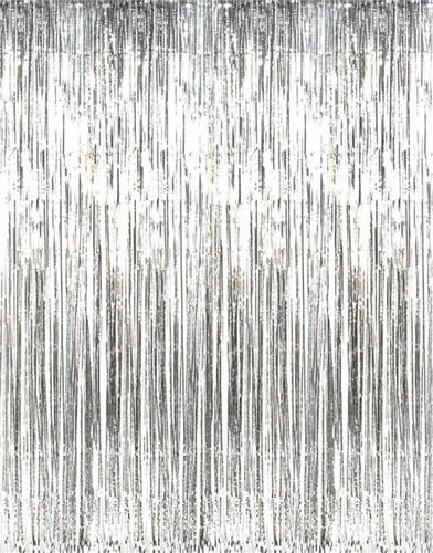 Shiny Silver Tinsel Foil Fringe Door Window Curtain Party Holiday Decoration