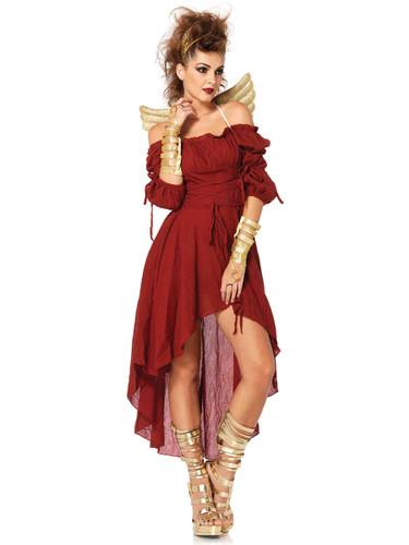 Adult's Womens Renaissance Lady Peasant Burgundy Gauze Dress Costume