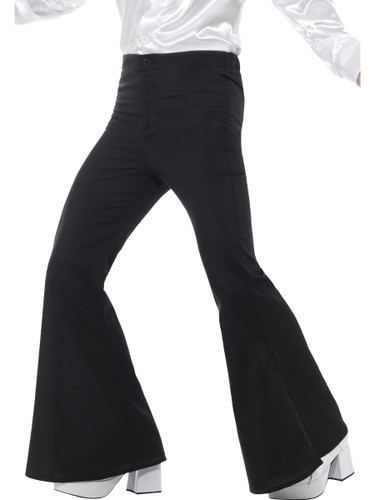 Mens 70s Groovy Disco Fever Flared Black Pants Costume