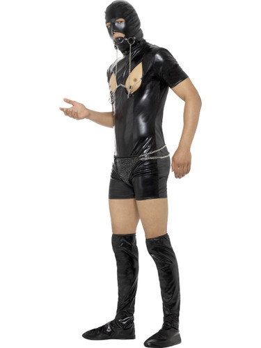 Mens Sexy Bondage Gimp Slave Bodysuit With Nipple Clamps Costume
