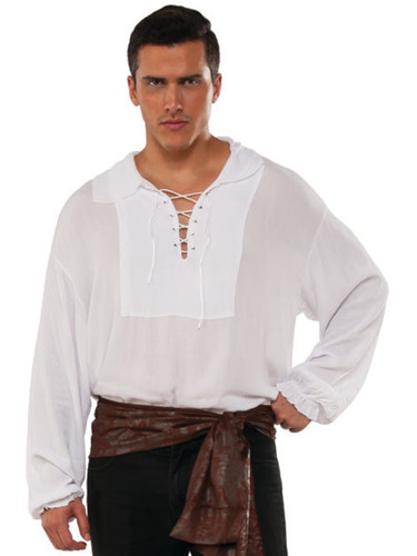 Men's Swashbuckler White Cuffed Lace Up Pirate Shirt Costume