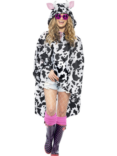 Adult's Farm Animal Cow Poncho With Hood Costume Accessory
