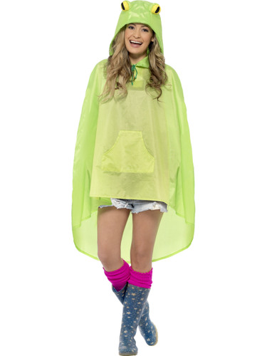 Adult's Swamp Animal Frog Poncho With Hood Costume Accessory