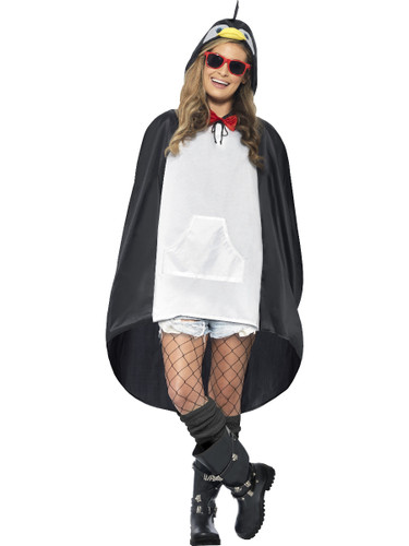 Adult's Arctic Animal Penguin Poncho With Hood Costume Accessory