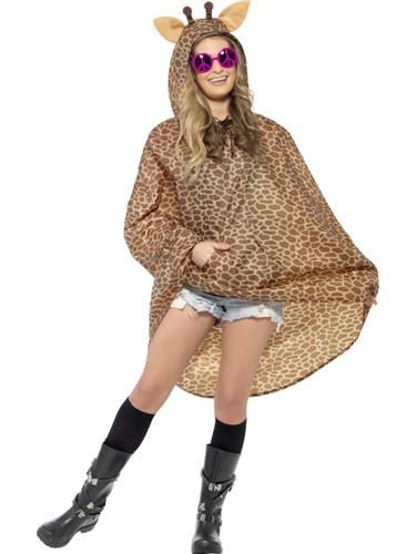 Adult's African Safari Animal Giraffe Poncho With Hood Costume Accessory