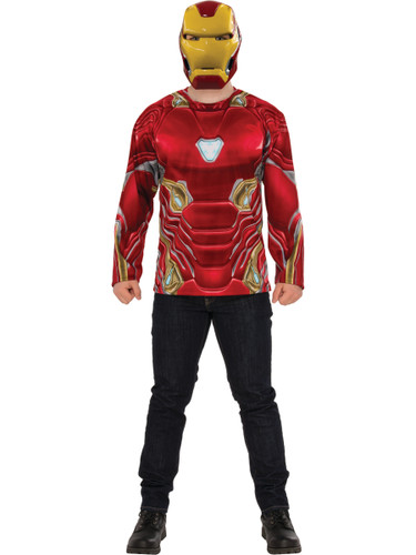 Mens Avengers Infinity War Iron Man Costume Shirt And Mask
