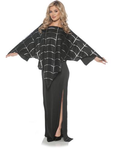 Adult's Black Spider Web Poncho Costume Accessory