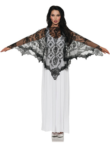 Adult's Vampire Skull Lace Poncho Costume Accessory