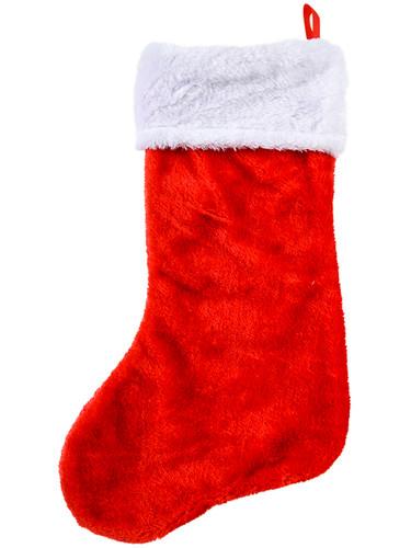 """Christmas Red Plush Faux Fur Trim 16"""" Classic Stocking"""