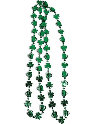Green St. Patrick's Day Shamrocks Mardi Gras Beads Necklace Costume Accessory