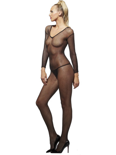 Adult Sexy Black Crotchless Fishnet Costume Body Stockings Costume Accessory