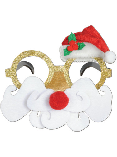 Festive Holiday Christmas Glittered Santa Glasses Costume Accessory