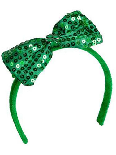 Saint Patrick's Day Green Sequin Bow Head Headband Costume Accessory