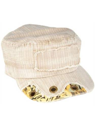 Beige Brown Cadet Cap with Brass Rivets And Camo Trim