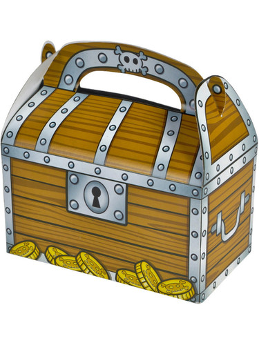 Set of 12 Child's Pirate Party Accessory Loot Bag Treasure Chest Candy Boxes