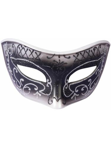 Adults Black With Silver Trim Venetian Masquerade Half Mask Costume Accessory