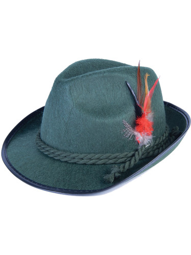 Deluxe Adult Green German Bavarian Oktoberfest Hat With Hatband and Feathers