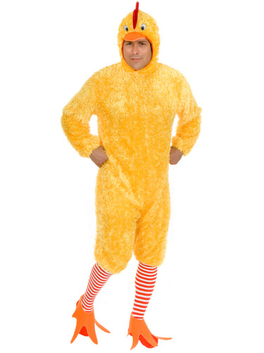 Adult Size Funky Yellow Fuzzy Chicken Suit Costume