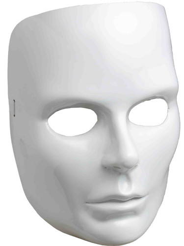 New Halloween Costume Women's Female Blank White Face Mask Facemask