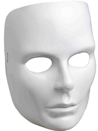New Halloween Costume Women's Female Blank White Face Mask Facemask