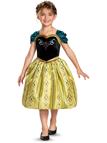Childs Girls Disney Classic Frozen Anna Coronation Gown Costume