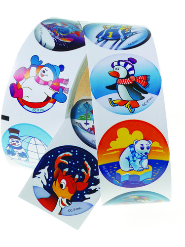 100 Winter Christmas Holiday Classic Character Stickers Roll