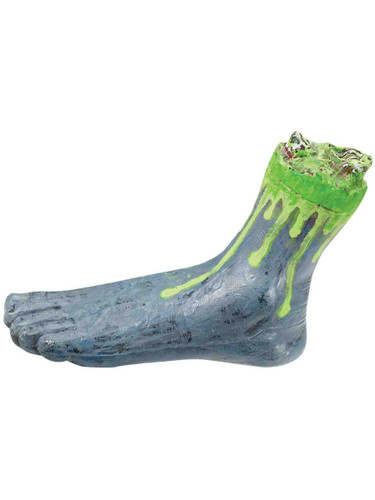Deluxe Grey And Green Biohazard Zombie Costume Oozing Severed Foot