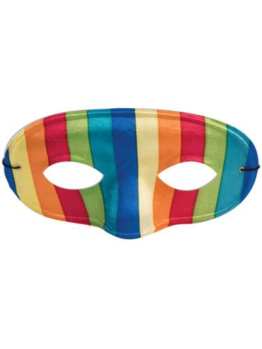 Adult's Funky Pride Colorful 70s Retro Rainbow Domino Mask Costume Accessory