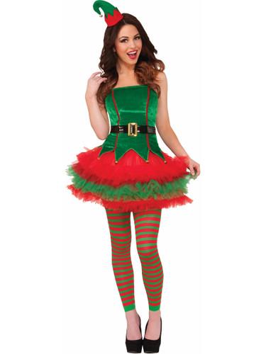 Womens Sexy Sassy Elf Green Red Tutu Dress Tu Tu Christmas Costume