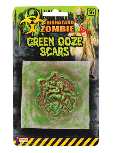 Biohazard Zombie Round Green Oozing Sore Bloody Costume Latex Scar Wound