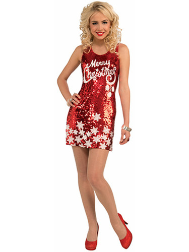 Womens Racy Red Merry Christmas Snowflake Sequin Dress