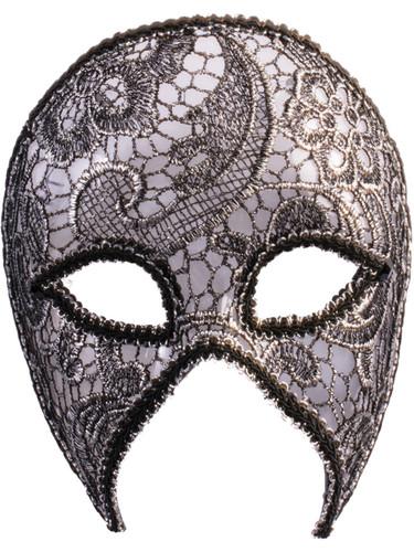 Womens Silver Lacey Venetian Mardi Gras Half Mask Costume Accessory