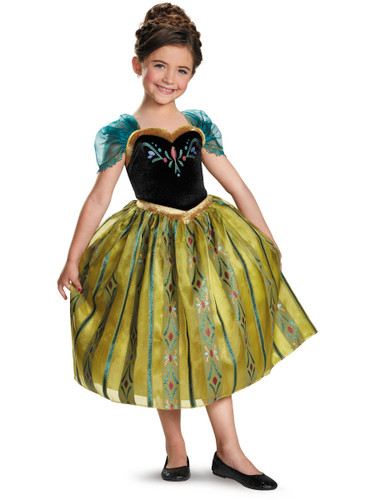 Childs Girls Disney Classic Deluxe Frozen Anna Coronation Gown Costume