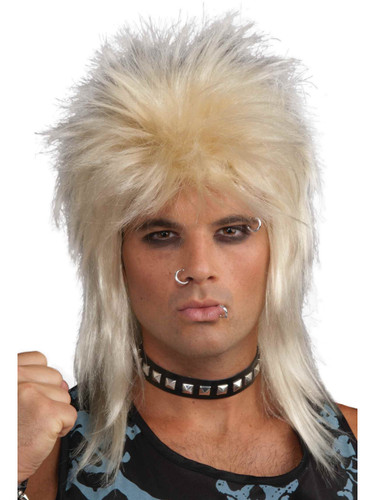 80s Rock Star Unisex Blonde Spiked Rocker Costume Wig