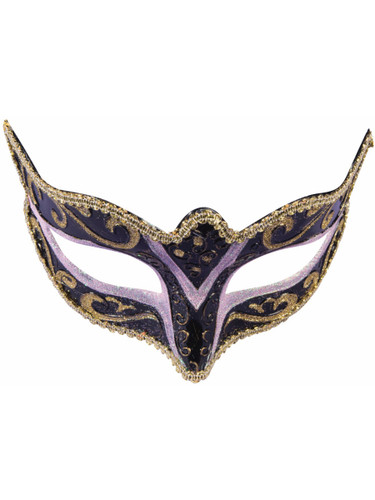 Adults Black And Pink With Gold Trim Venetian Masquerade Half Mask