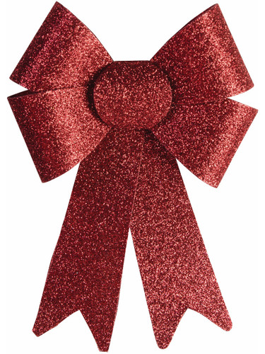 """9"""" Red Glitter 4 Loop Christmas Bow Door Wall Fireplace Holiday Decoration"""