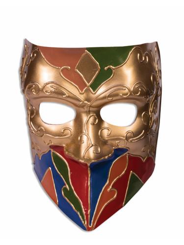 Adult Green Gold Purple Mardi Gras Carnival Jester Mask Costume Accessory
