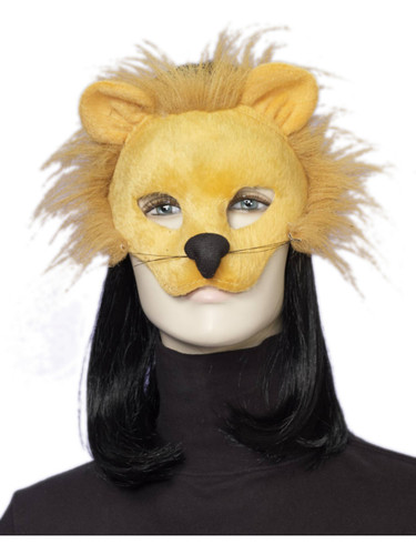 Adult Deluxe Gold Plush Lion Animal Half Eye Mask
