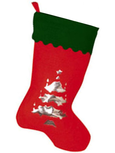 "19"" Red Green Christmas Stocking Silver Tree Silhouette"