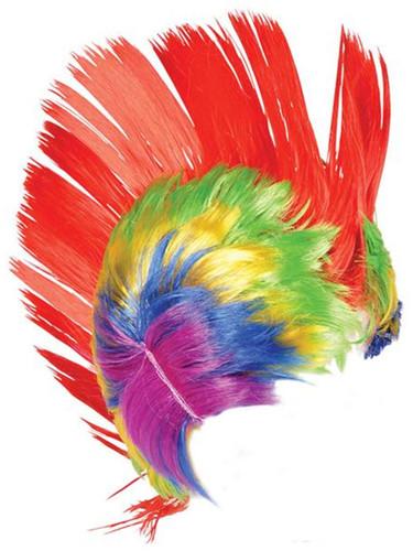 Adult Rainbow School and Team Spirit Mohawk Wig with LED lights