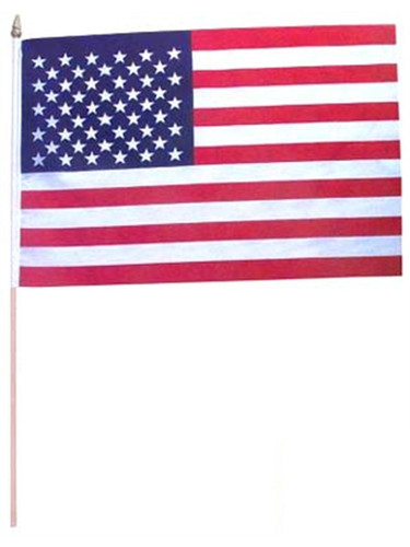 1 x 1.5' American Flags Wooden Dowel Parade USA Flags