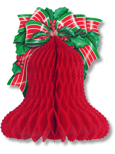 "10"" Red Tissue Paper Bell With Bow Holiday Christmas Party Decoration"