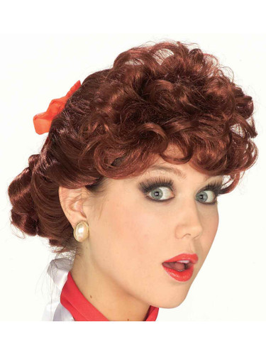 50s Doo Wop Sock Hop Red Auburn Curly Housewife Wig With Red Ribbon