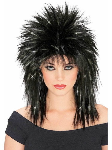 Mens Womens Black Joan Jet 80s Super Star Costume Wig With Silver Tinsel