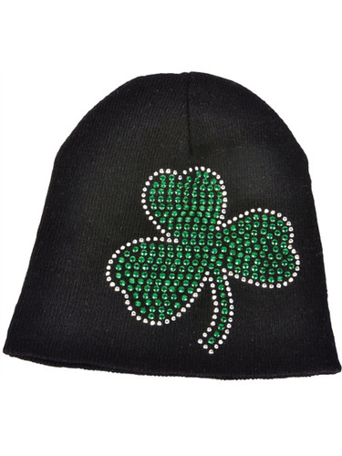 St. Patricks Day Black Knit Beanie Hat with Green Rhinestone Shamrock