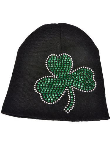 St. Patricks Day Black Knit Beanie Hat with Green Rhinestone Shamrock