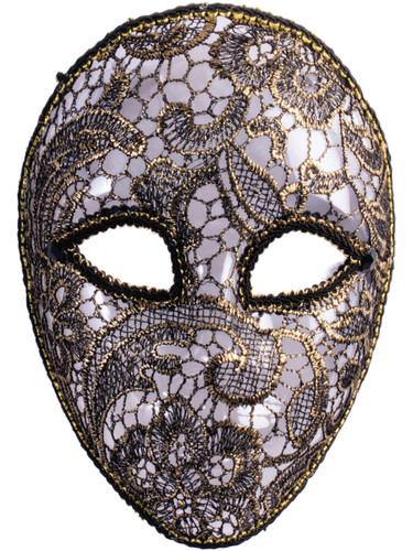 Womens Gold Lacey Venetian Mardi Gras Mask Costume Accessory