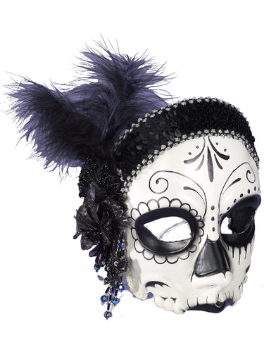 Adult Day of the Dead Skull Flapper Headband Half Mask